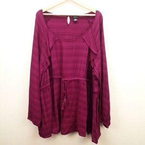 Torrid tunic top drawstring waist ruffle detail